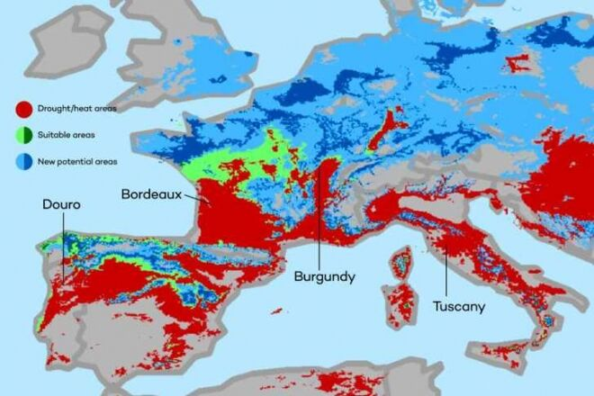 Klímatérkép, klímaváltozás hatása a szőlőtermesztésre és a borokra